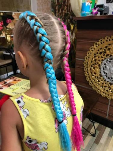Blue and pink hair braids