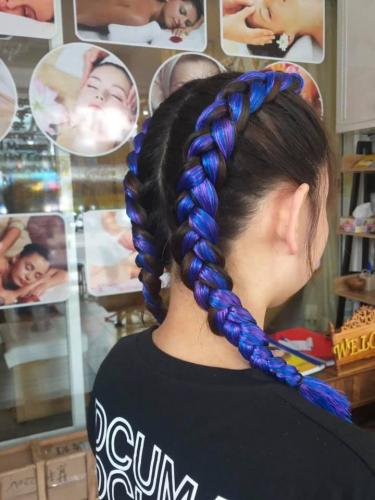 Beautiful Blue Hair Braiding in Patong