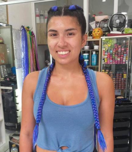 Beautiful Blue hair braiding in patong