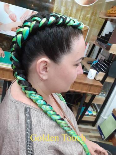Beautiful green hair braids in patong
