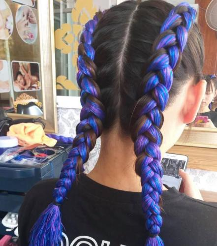 Blue Hair Braids for girls in Patong