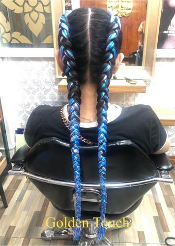 Blue hair braids in patong