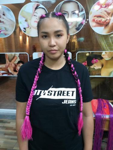 Pink hair braiding in patong